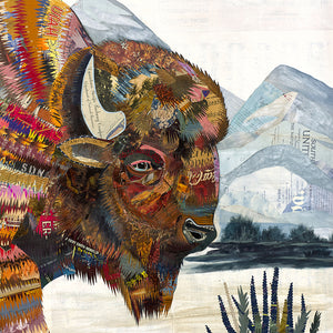 thumbnail for Sage King Bison Original Paper Collage
