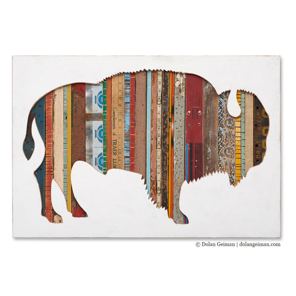 American Bison/Buffalo Silhouette Original Mixed Media