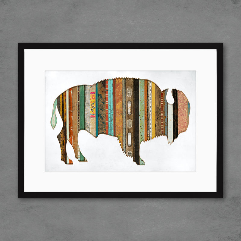 main image for Mixed Media Bison Silhouette with Reclaimed Wood Print