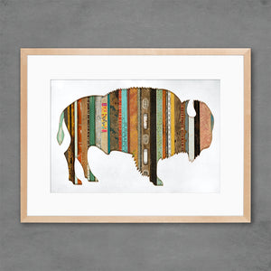 thumbnail for Mixed Media Bison Silhouette with Reclaimed Wood Print