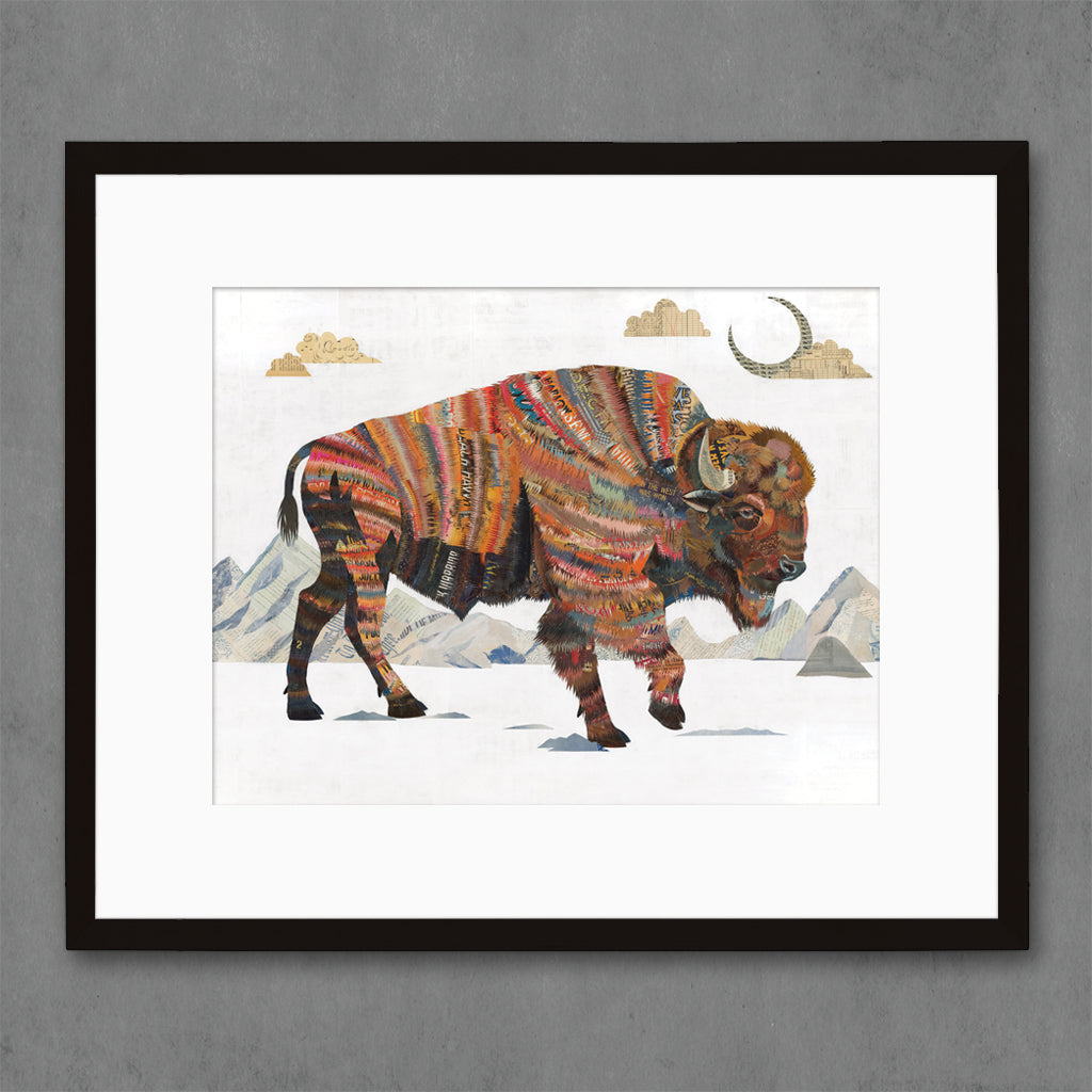 Bison with Mountains Art Print