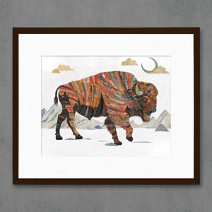 thumbnail for Bison with Mountains Art Print