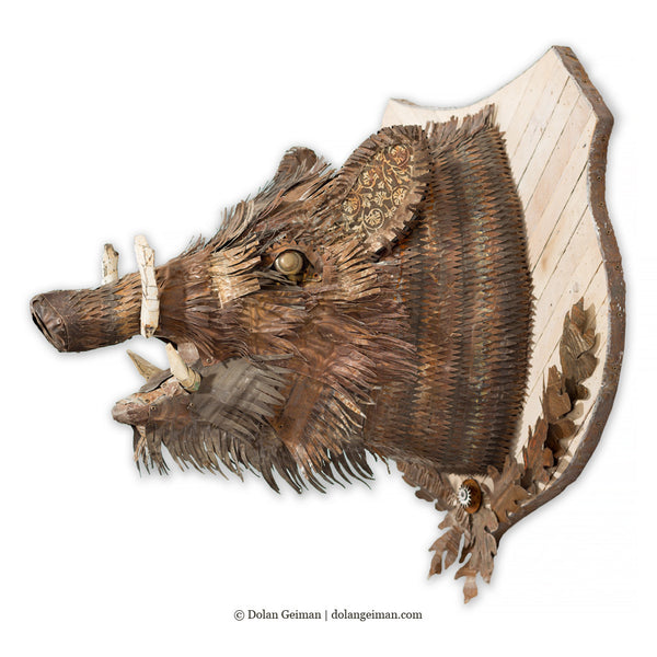 Black Forest Boar Head Faux Taxidermy Metal Wall Sculpture