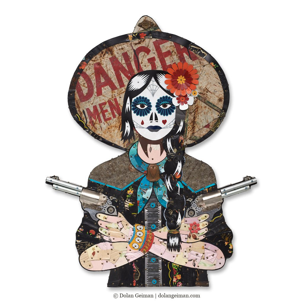 Black Widow Cowgirl Metal Wall Sculptures - Alt Variations
