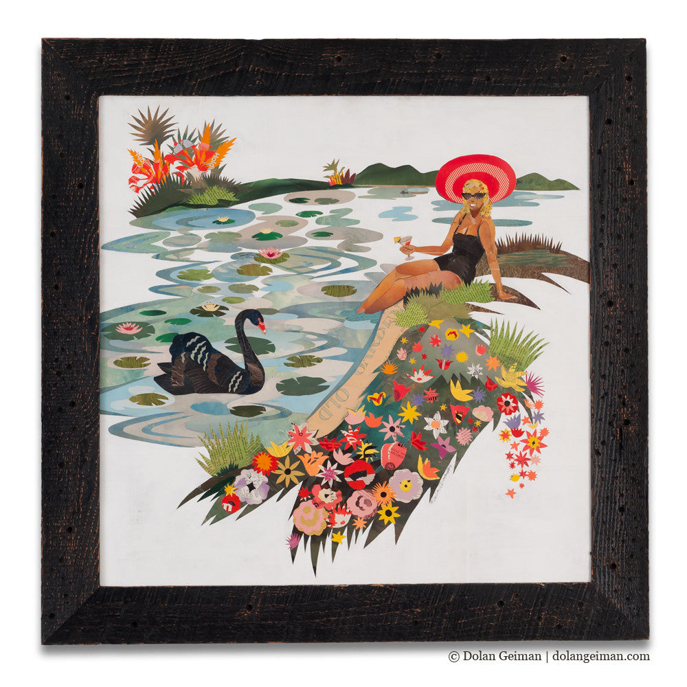 Black Swan with Female Figure Paper Collage Art