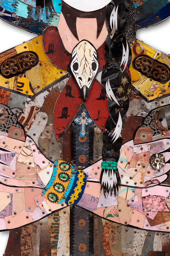 Cowgirl with Pistols Metal Wall Sculpture