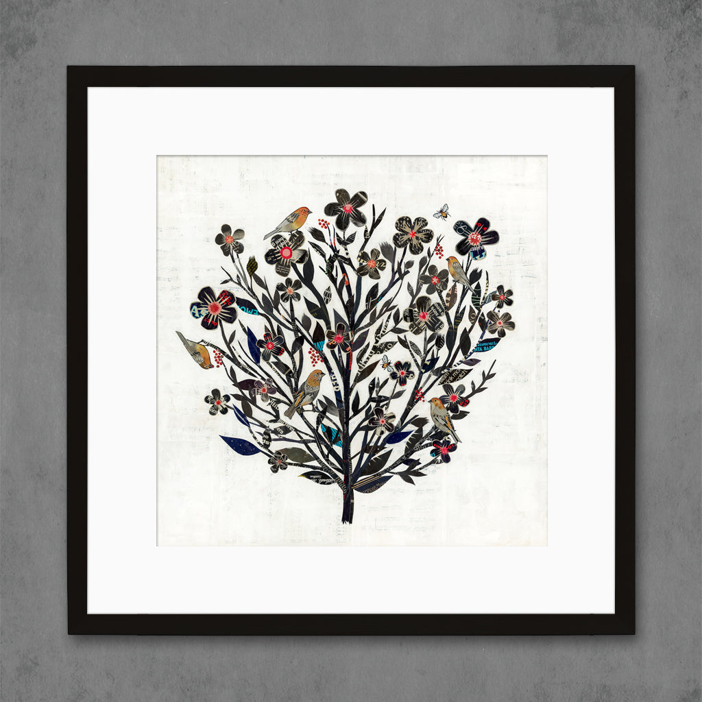 Blackberry Rose Bird and Floral Art Print