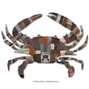 thumbnail for Blue Crab Original Metal Wall Sculpture