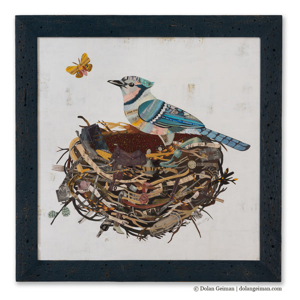 Blue Jay with Moth Paper Collage Art