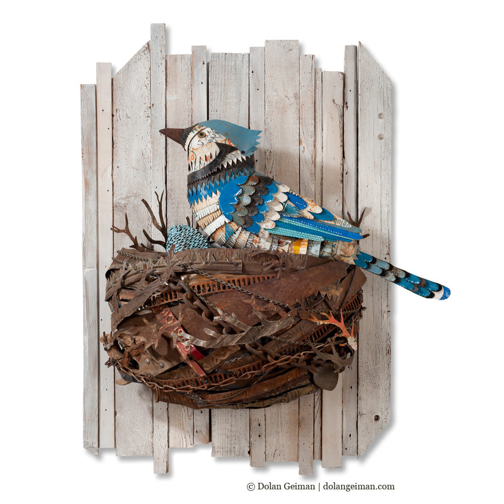 Blue Jay Metal Bird and Nest Wall Sculpture