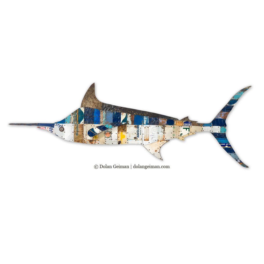 Blue Marlin Metal Fish Wall Sculpture
