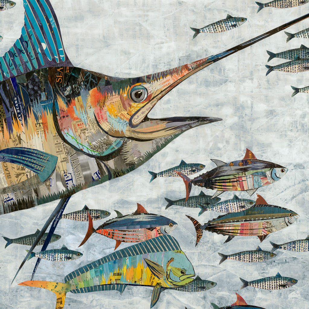 Marlin with Mahi Mahi Original Paper Collage