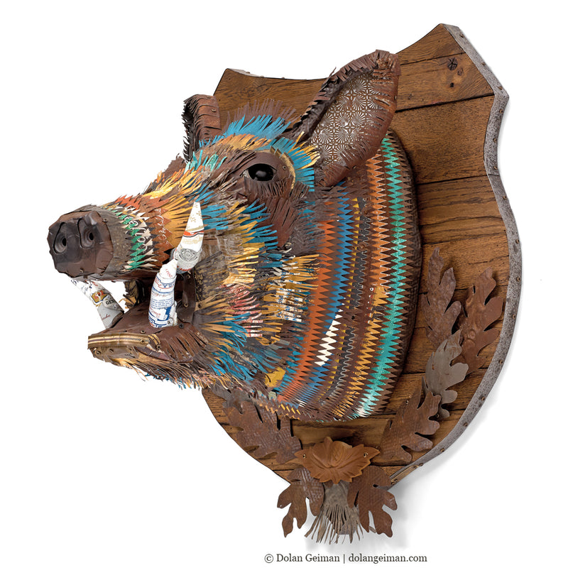 main image for Custom Wild Boar Head Faux Taxidermy Metal Wall Sculpture