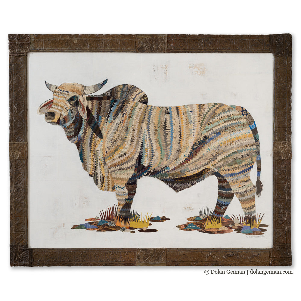 Brahman Bull Paper Collage Art