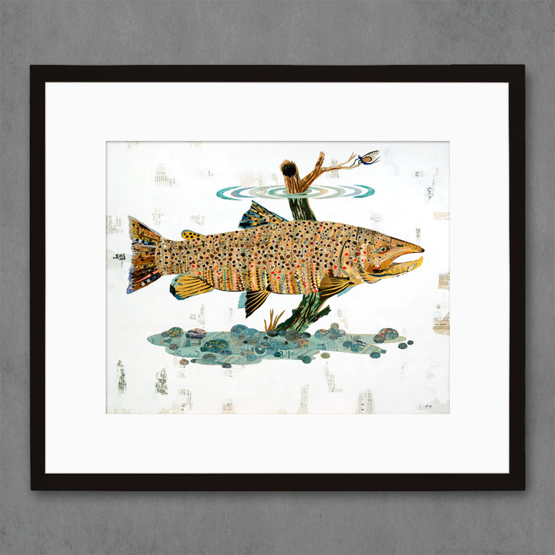 main image for Brown Trout Swimming in Stream Fish Art Print on Paper