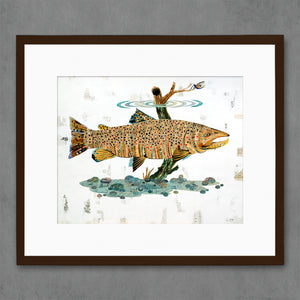 thumbnail for Brown Trout Swimming in Stream Fish Art Print on Paper