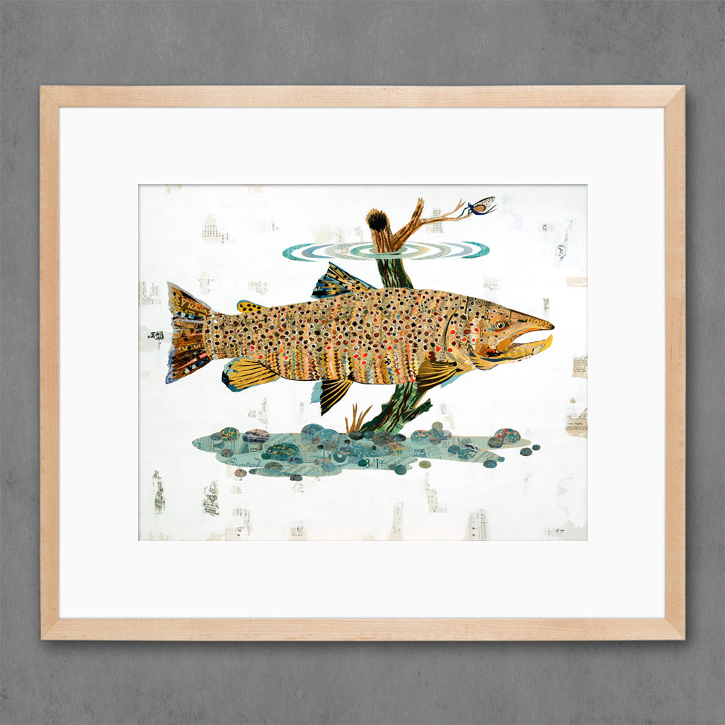 Brown Trout Swimming in Stream Art Print on Paper