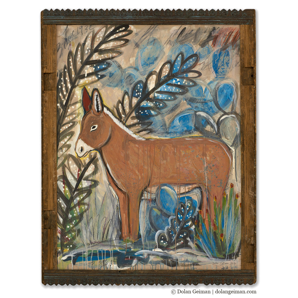 Burro Painting with Ornate Frame