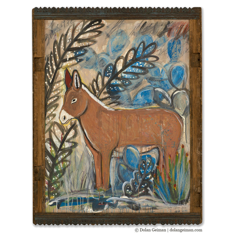 main image for Burro Painting with Ornate Frame
