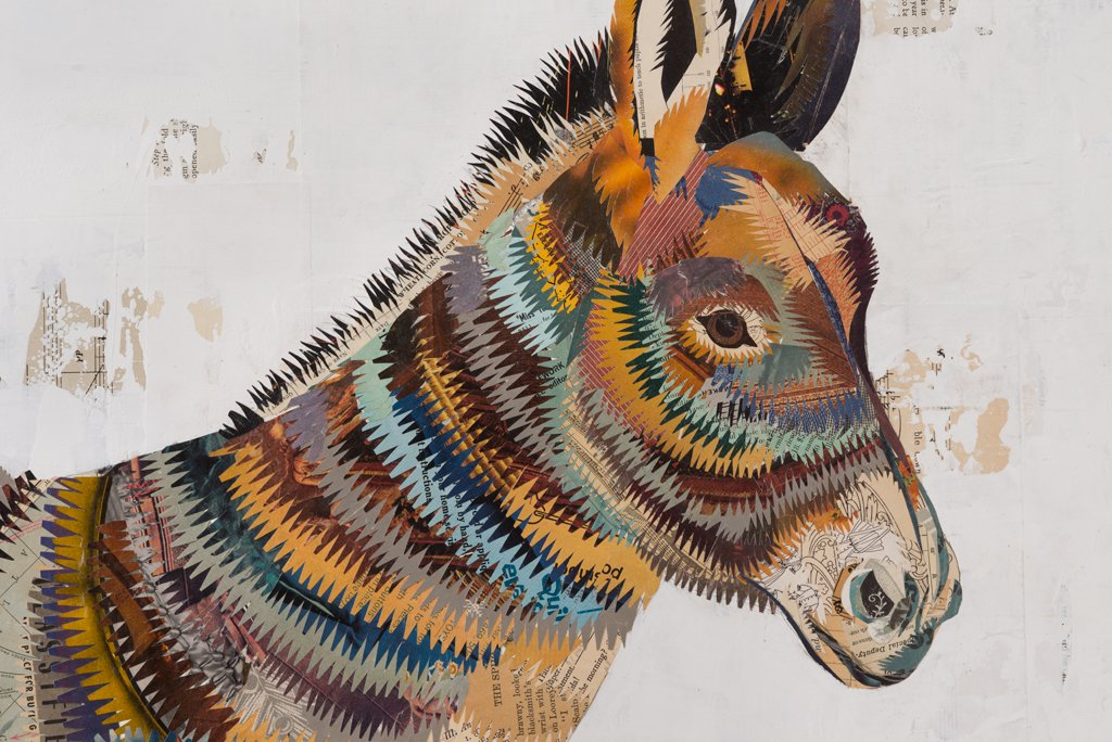 Burro Donkey Paper Collage Art