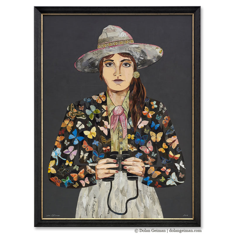 main image for Butterfly Ranger Woman with Binoculars, Large-Scale, Original Paper Collage