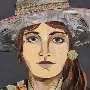 thumbnail for Butterfly Ranger Woman with Binoculars, Large-Scale, Original Paper Collage