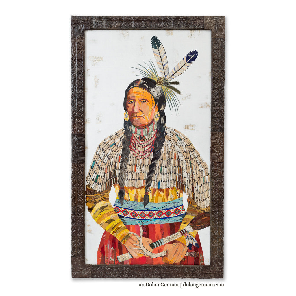 Custom Wise Mother Chieftess Figurative Portrait Paper Collage Art