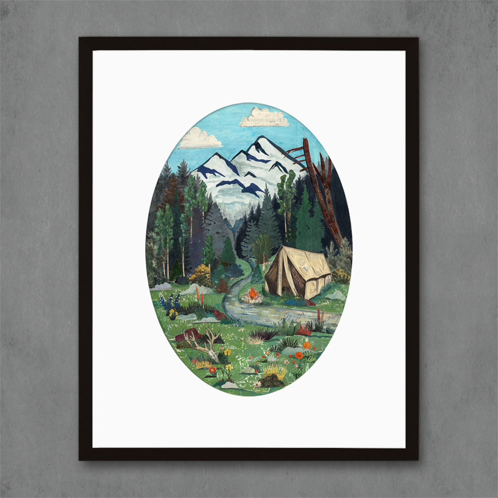 Tent Camping in Mountains Art Print