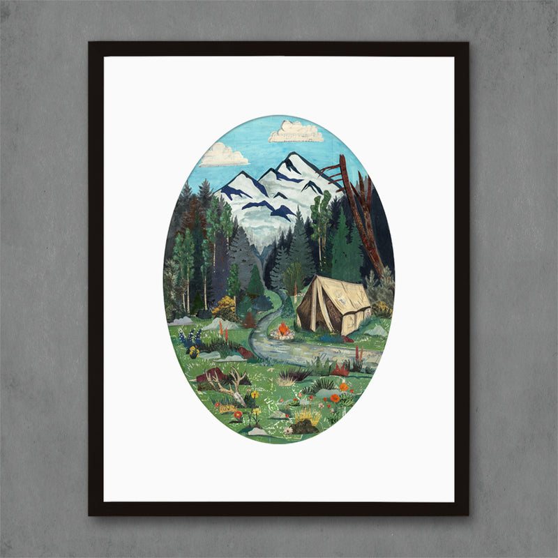 main image for Tent Camping in Mountains Art Print