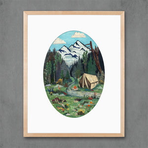 thumbnail for Tent Camping in Mountains Art Print