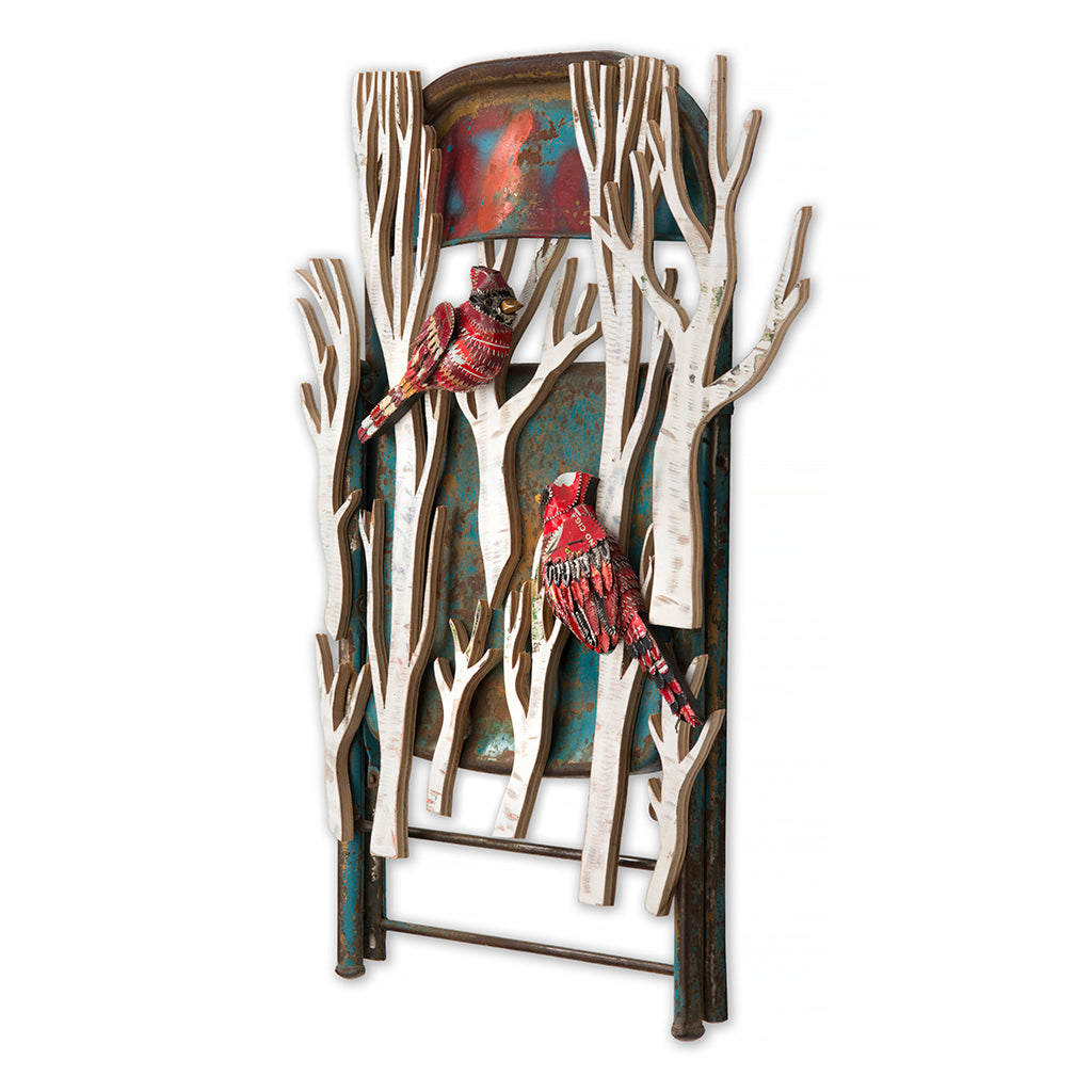 Cardinals with Blue Chair Wall Sculpture