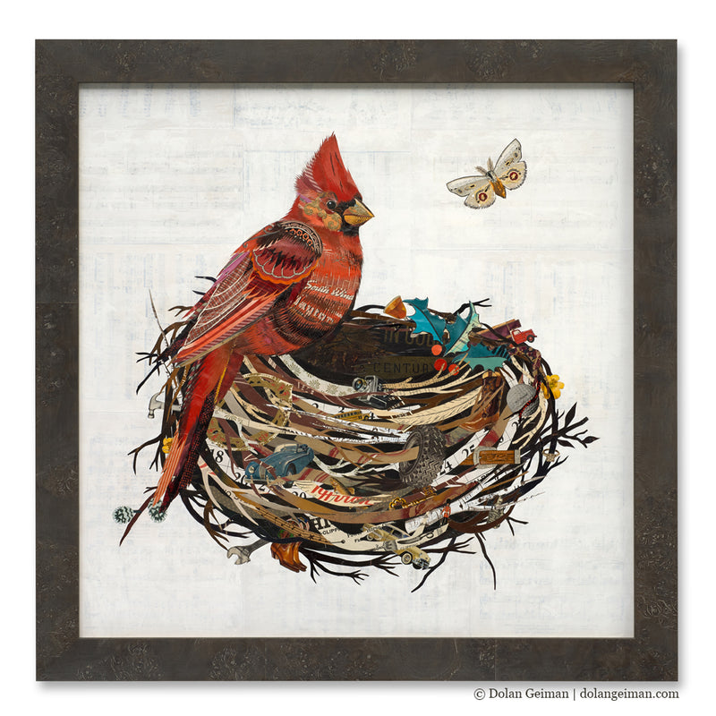 main image for Cardinal with Holly and Nest Original Paper Collage