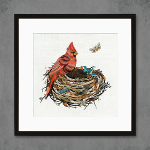 thumbnail for Cardinal in Nest Bird Art Print
