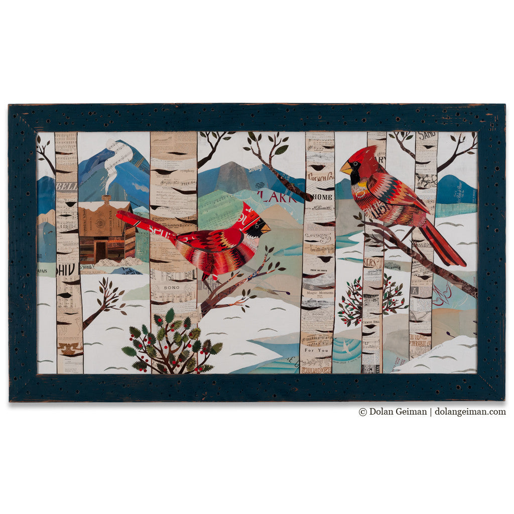 Cardinals in Winter Forest Paper Collage Art
