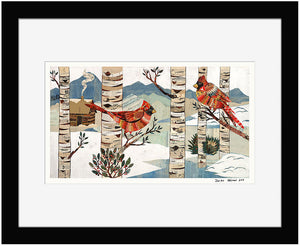 thumbnail for Cardinals in Winter Forest Paper Collage Art