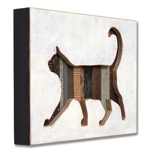thumbnail for Cat Silhouette Art in Mixed Media Wood