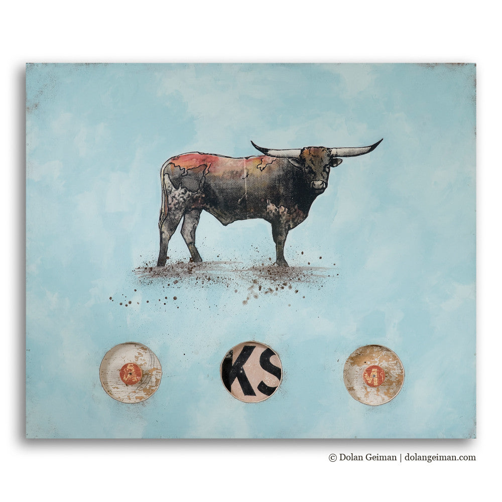 Champion of the Rio Grande Longhorn Mixed Media Art