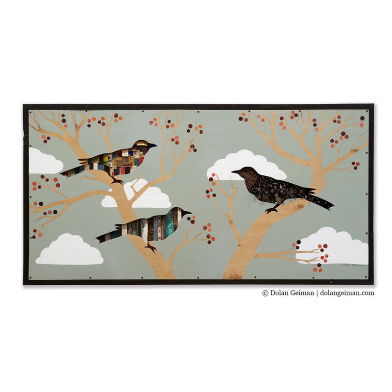 main image for Cherry Tree Birds in Tree Textural Mixed Media Art