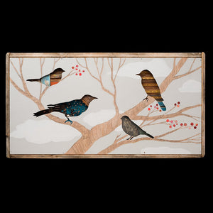 thumbnail for Cherry Tree Birds in Tree Textural Mixed Media Art