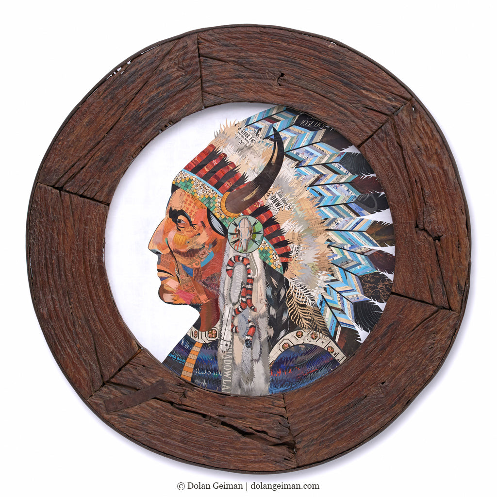 Native American Original Paper Collage in Circular Wooden Wheel Frame