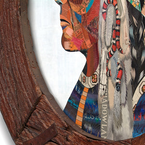 thumbnail for Native American Original Paper Collage in Circular Wooden Wheel Frame