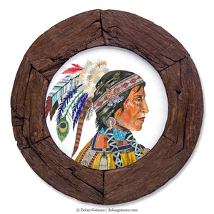 thumbnail for Native American Woman Original Paper Collage in Circular Wooden Wheel Frame