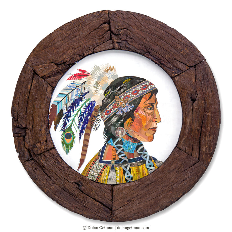 main image for Native American Woman Original Paper Collage in Circular Wooden Wheel Frame