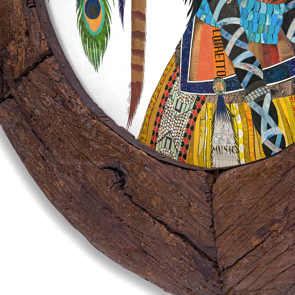 Native American Woman Original Paper Collage in Circular Wooden Wheel Frame