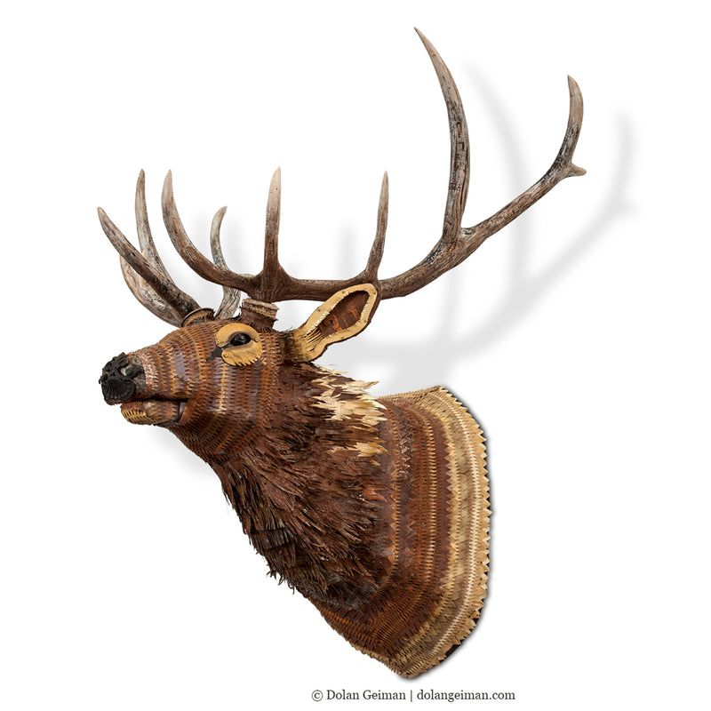 main image for Faux Taxidermy Elk with Realistic Antlers Metal Wall Sculpture