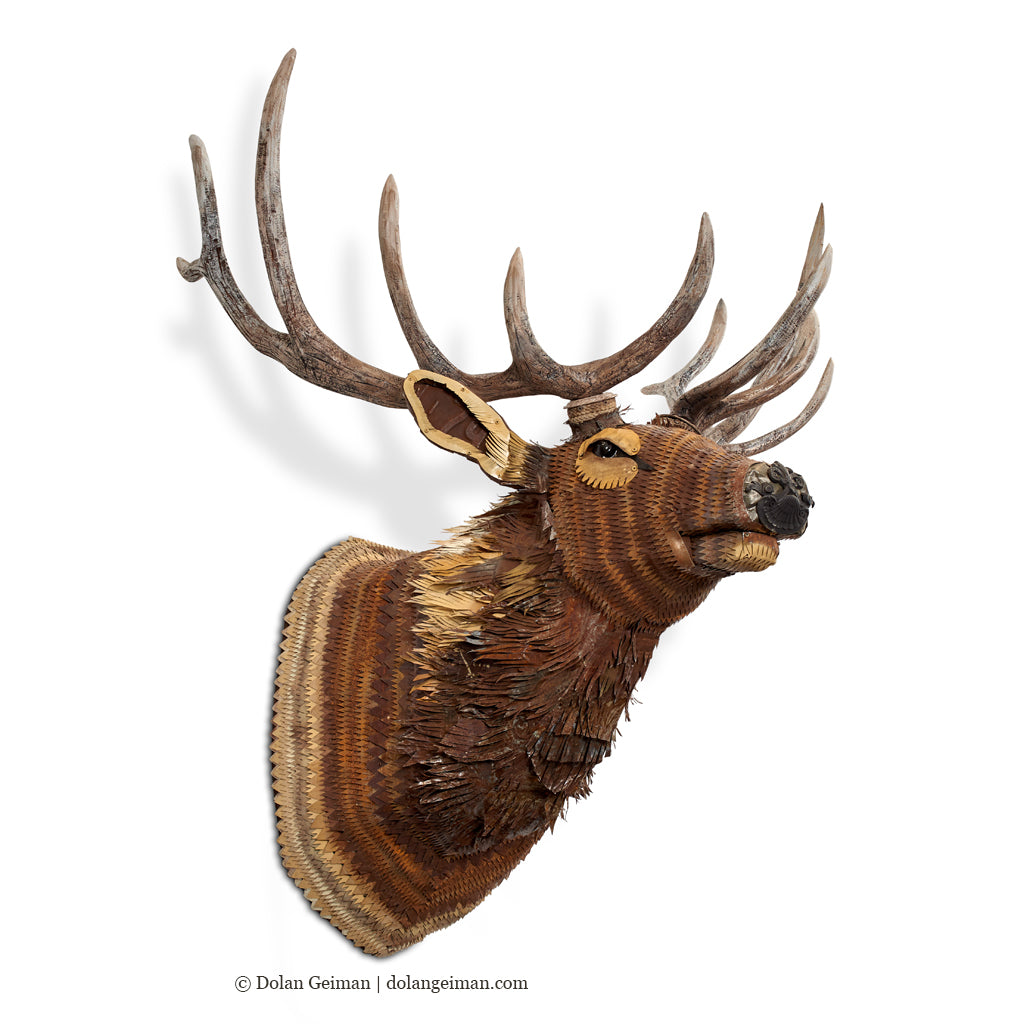 Faux Taxidermy Elk with Realistic Antlers Metal Wall Sculpture