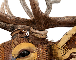 thumbnail for Faux Taxidermy Elk with Realistic Antlers Metal Wall Sculpture