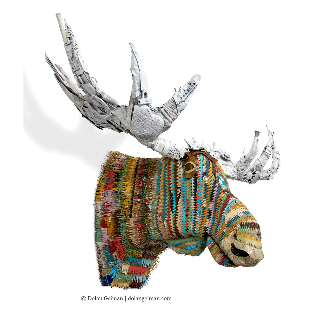 Colorful Faux Taxidermy Bull Moose Metal Wall Sculpture