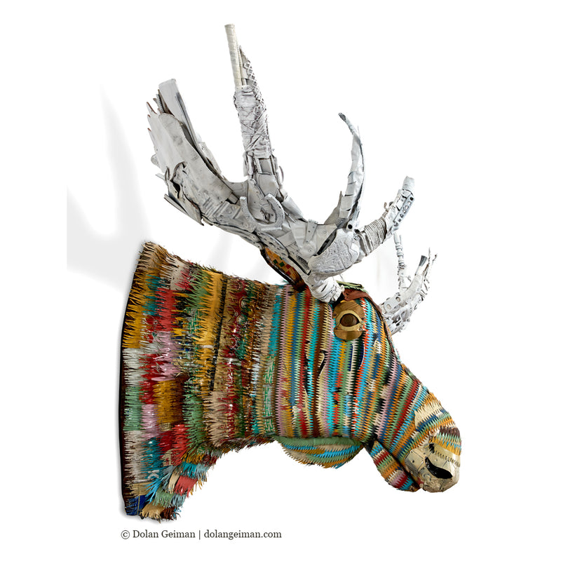 main image for Colorful Faux Taxidermy Bull Moose Metal Wall Sculpture