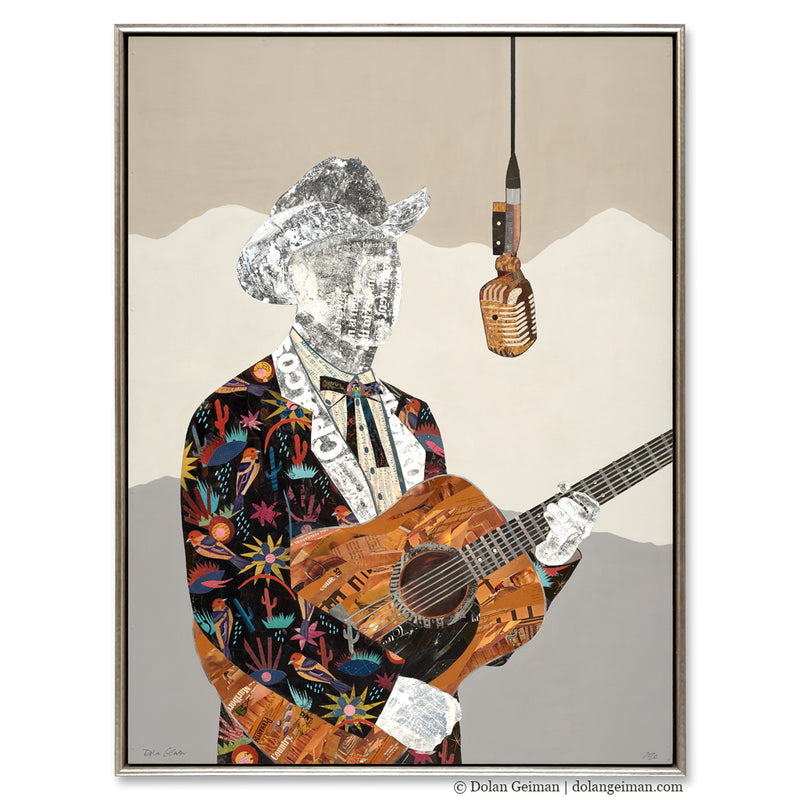 main image for Country Music Done Changed - Cowboy with Guitar Original Paper Collage